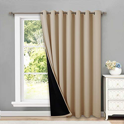 NICETOWN 100% Blackout Thermal Insulated Curtain, Noise Reducing Slider Curtain Panel with Black Lining, Full Light Blocking Patio Door Drapery (1 PC, 100-inch x 95 inches, Light Taupe=Biscotti Beige)