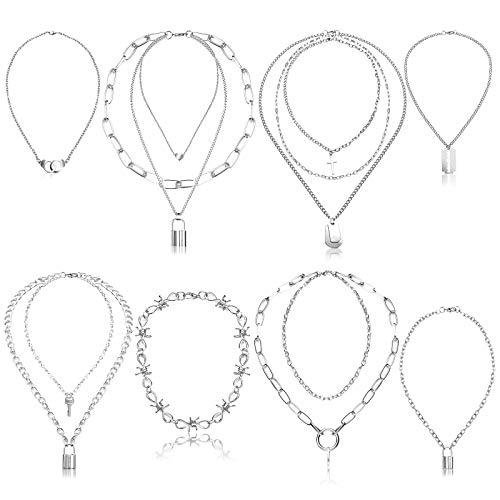 Punk Kette Halskette, Comius Sharp 8 Stück Kette Choker Set, Lock Schlüssel Anhänger Halskette Unisex Multilayer Punk Draht Dornen Einfache Kette Halskette für Mode Frauen Männer
