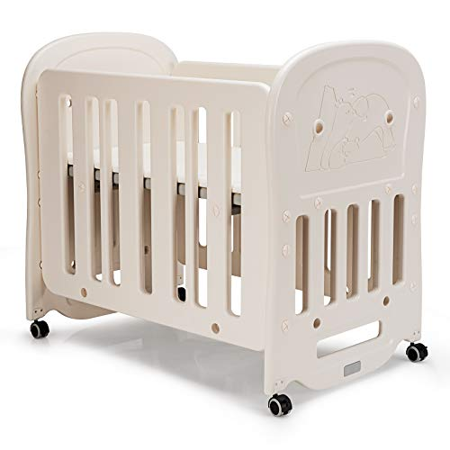 COSTWAY 3-in-1 Baby Cot with Mattress, Height Adjustable Base, Detachable & Lockable Wheels, Convertible Toddler Playard Rocking Crib