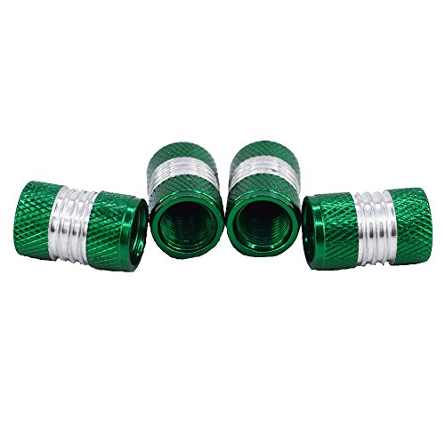 Outletshop24 Hochwertiges Aluminium Reifen Ventilkappen Set Grün 4 Stück einfache Montage Eintragung Frei