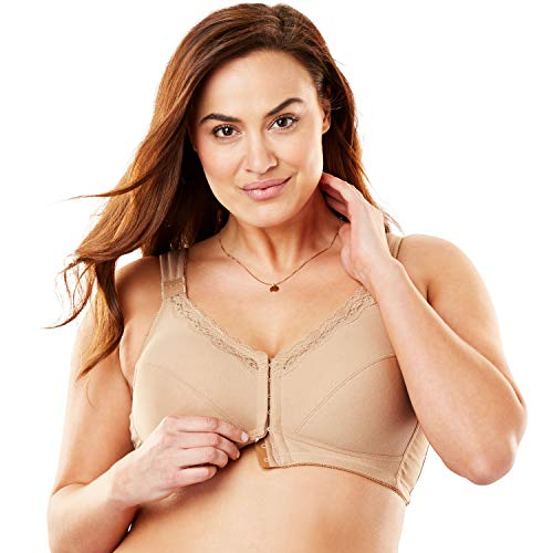 Comfort Choice Women's Plus Size Front-Close Cotton Wireless Posture Bra - 54 B, Nude