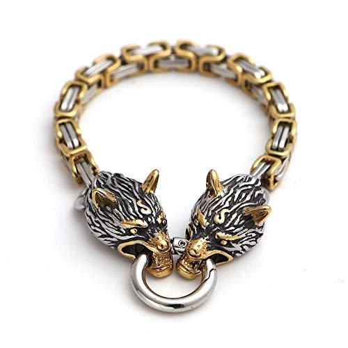 Pulsera de moda, mitos nórdicos vikingo, cadena de emperador de cabeza de acero inoxidable Cadena de Emperador, Habitación Golden Men's Jewelry