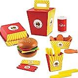 mcdonalds play food set - D.O.T Wooden Fast Food Burger Fries Deluxe Dinner Set - 26 PCS