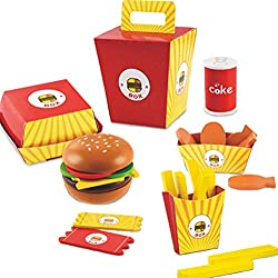 Image: D.O.T Toy Wooden Fast Food Burger Fries Deluxe Dinner Set-26 Pcs