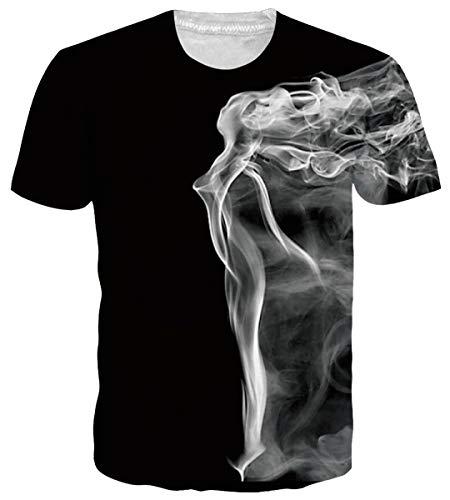 Funnycokid Teenager Mädchen Tees Sommer 3D Pattern Kurzarm Lässige Grafik Unisex T-Shirts Schwarz