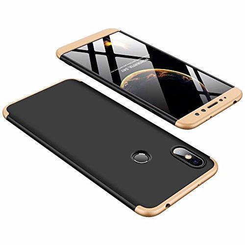 DESCHE compatibles con Funda Xiaomi Redmi S2 Golden Negro, PC Duro Cubierta Protectora Ultrafino Anti-rasguños Parachoque Mate Phone Case - Golden Negro