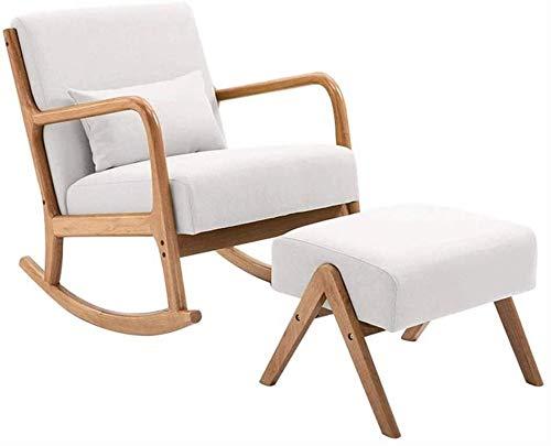 Jiaduobao Sedia a dondolo per interni o esterni, sedia a dondolo per soggiorno singolo, in legno massello nordico, stile cinese semplice