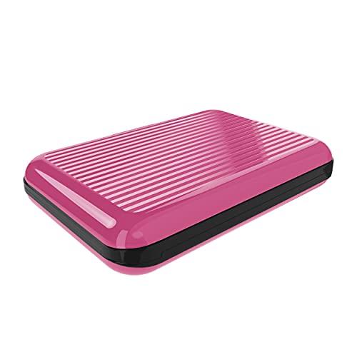 Tarjetero Mujer Hombre para Tarjetas Aluminio RFID Bloqueo Protector de Tarjetas Anti fraude Anti contactless Gran Capacidad Rayado Rosa