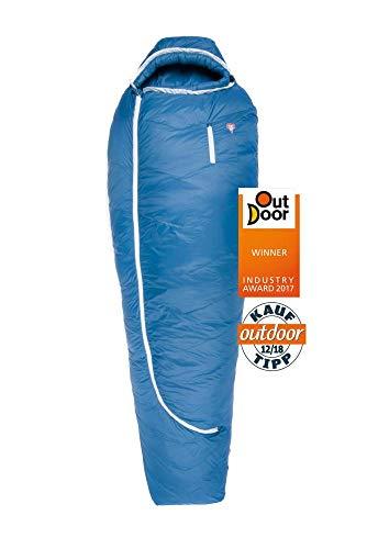 Grüezi-Bag Biopod DownWool Ice 175 Ice Winter-Schlafsack Winter/Herbst, 200x77cm, bis Körpergröße 175cm, Tkomf -1°C/Tlim -8°C, Packmaß Ø 21 x 23 cm