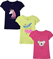 Real Basics Girls Tshirt/Top, Pack of 3 Cotton, Regular Fit, Multicolour