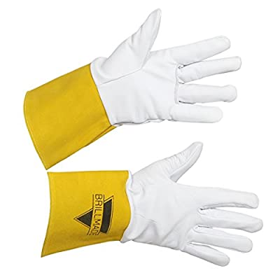 BRILLMADE- Welding Lined Leather Work Gloves - Premium Goatskin leather with Split Leather Cuff with Improved Dexterity, Excellent Grip | Suitable for TIG/MIG Welding/Gardening/Yard Work