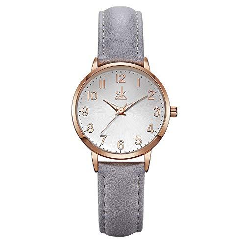 Damen Analog Quarz Uhr Leder Armbanduhr Luxuriöse Quarzuhren Mädchen Damenarmbanduhr (9005 Grey)
