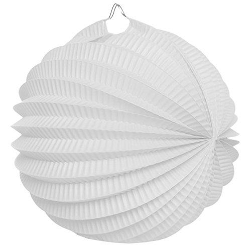 Visiodirect Boule en Papier Déco Accordéon Coloris Blanc - 32 cm