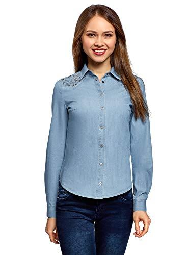 oodji Ultra Mujer Camisa Vaquera con Decoración en los Hombros, Azul, ES 36 / XS