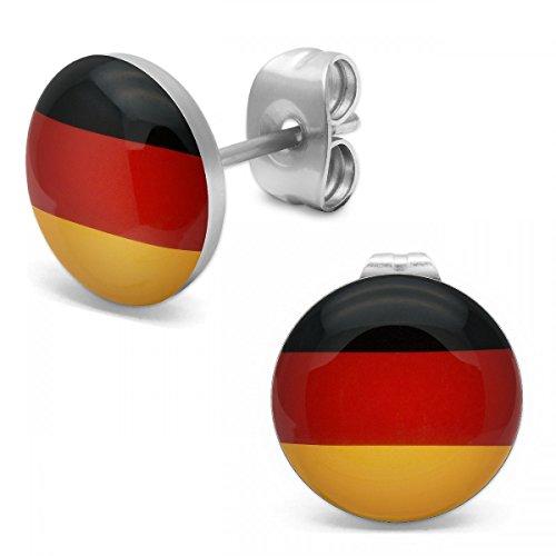 SoulCats® 1 Paar Ohrstecker mit der Deutschlandflagge schwarz rot gold