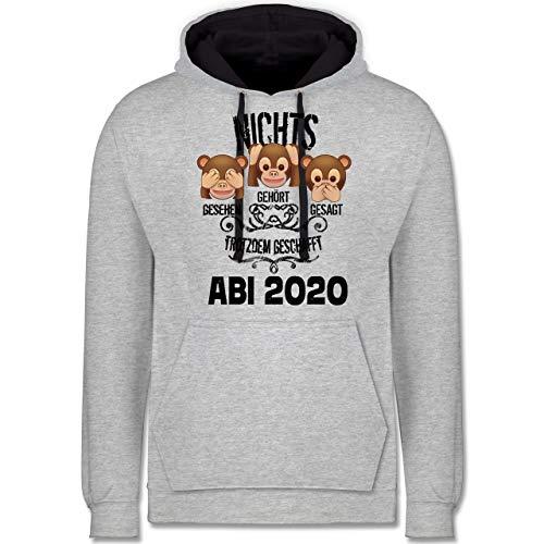 Shirtracer Abi & Abschluss - 3 Affen Emoticon ABI 2020-3XL - Grau meliert/Navy Blau - abschluss+Pullover+2019 - JH003 - Hoodie zweifarbig und Kapuzenpullover für Herren und Damen
