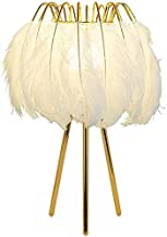 Mopoq Desk Lamps White Feather Deco Table Lamp Fashion Beside Table Lamp with Gold Metal Bracket for Bedroom Children Wedd...
