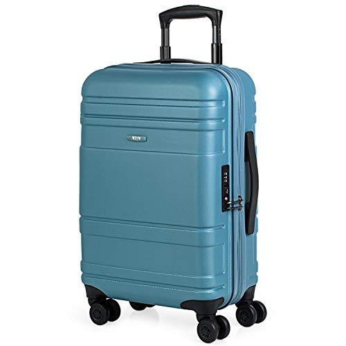 JASLEN - 73150 Maleta Trolley Cabina 50 cm ABS/PC. Equipaje de Mano. Rígida, Resistente y Ligera. Mango telescópico, 4 Ruedas Dobles. Candado TSA. Vuelos Low Cost. Muy Completa, Color Azul