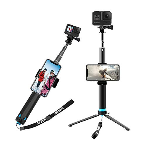 AFAITH Upgraded Pole for GoPro, Aluminum Alloy GoPro Selfie Stick with Stable Tripod Waterproof...