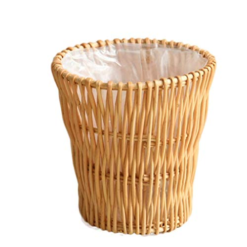 Dmqpp Waste Bin Rattan trash can cylindrical uncovered trash can toilet paper willow woven storage bucket hand-woven Bin (Color : Light brown) (Color : Light Brown)