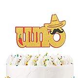 UNO Cake Topper Fiesta First Party 1st Birthday Party Decoration Supplies - Handmade Double Side Glitter – Cute Sombrero Mustache Chili Design