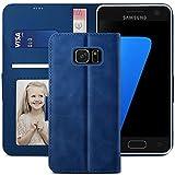 YATWIN Handyhülle Samsung Galaxy S7 Hülle, Klapphülle Samsung Galaxy S7 Premium Leder Brieftasche Schutzhülle [Kartenfach][Magnet][Stand] Handytasche für Samsung Galaxy S7 Hülle, Blau