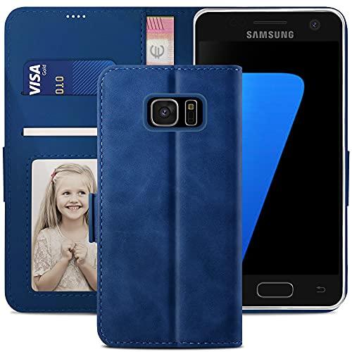YATWIN Handyhülle Samsung Galaxy S7 Hülle, Klapphülle Samsung Galaxy S7 Premium Leder Brieftasche Schutzhülle [Kartenfach][Magnet][Stand] Handytasche für Samsung Galaxy S7 Case, Blau