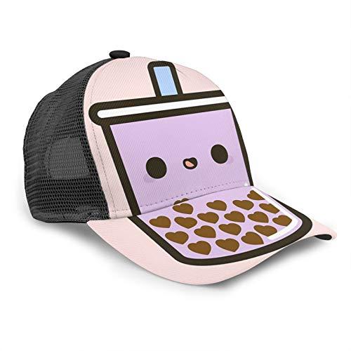 popluck Baseballkappe mit süßem Herz, Bubble Tea, Unisex, gebogener Rand, Netz, verstellbar, universell