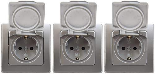3 x Delphi 22307 Schutzkontakt-Steckdose IP44 250V/16A inkl.Rahmen silber