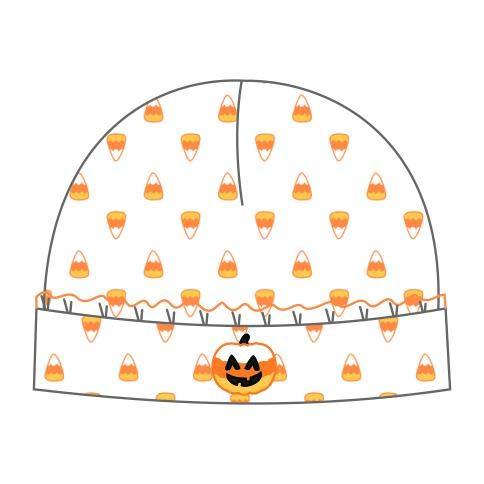 Magnolia Baby Baby Girl Candy Corn Pumpkin Emb Ruffle Hat Orange Newborn