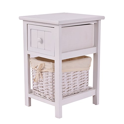Giantex Nightstand with Drawer and Layer, Wicker Basket Wooden Mini Organizer for Bedroom Bedside Sofa End Table (1, White)