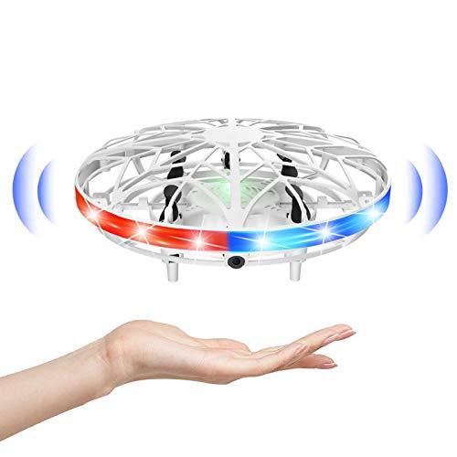 HshDUti Mini Drohne Handbetätigt Flying Ball Fliegender Spielzeug 360°Rotierenden UFO Helikopter Hubchrauber mit Infrarotsensor-Fernbedienung Spielzeug Geschenke für Erwachsene Kinder (Weiß)