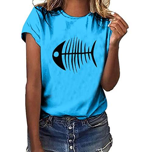 Xmiral T-Shirt Donna a Manica Corta con t-Shirt Casual a Maniche Corte Stampa a Lisca di Pesce XXL Blu