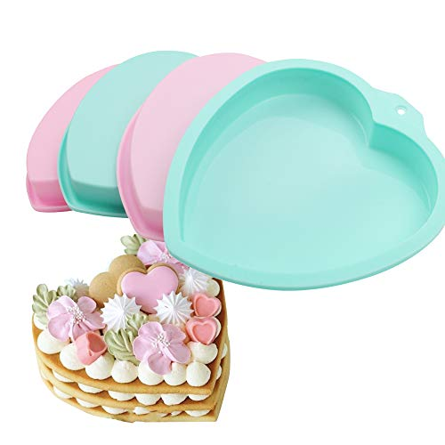 COOKNBAKE Valentine's Day Silicone Mould For 8 inch Heart Pizza Pan Rainbow Big cakes Pastry Baking Tool Cake Decoration Set of 4