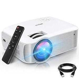 TOPVISION Proyector Cine en Casa de 5500 Lúmenes,1080P Nativa Mini Proyector Portátil Soporte 1080P Full HD, Proyector LED de 60000 Horas con Pantalla Máx de 240