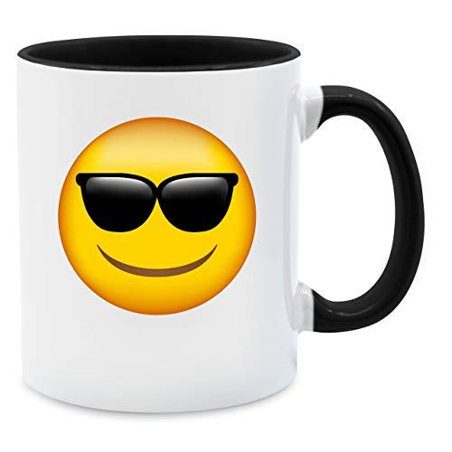 Statement Tasse - Emoticon Sonnenbrille - Unisize - Schwarz - Tasse groß - Q9061 - Tasse für Kaffee oder Tee