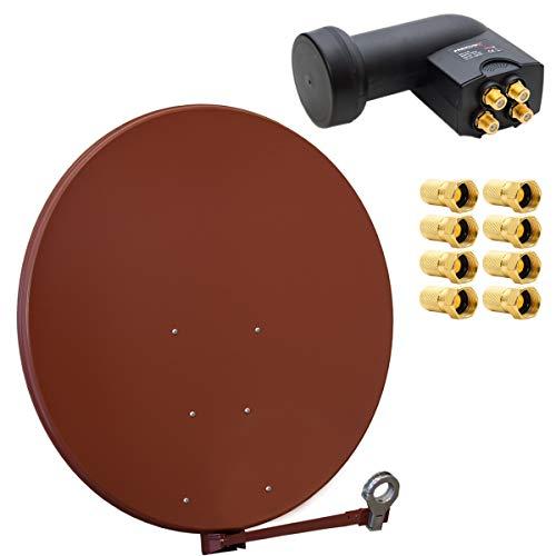 Gibertini Sat Anlage Antenne Schüssel 100cm Ziegelrot XP Profi- Serie + PremiumX Quad LNB 0,1db 4 Teilnehmer HDTV 4K