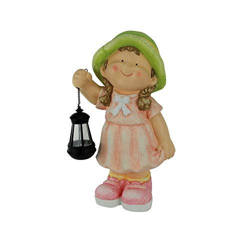 Große Gartenfigur Mädchen mit Solarlaterne in der Hand Gartenkind Gartendekofigur Terrassenfigur Gartendeko Gartenkind Sommerkind Außenfigur