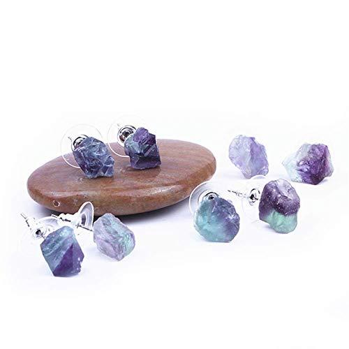 Yisss Pendientes de Piedras Preciosas fluoritas Naturales no procesadas, Pendientes de Forma Irregular para Mujeres, Verdes/púrpuras/Colores Mixtos, Regalo del día de la Madre, Regalo Creativo