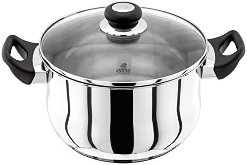 Judge Vista JJ45A Stainless Steel Huge Stockpot with Twin Handles 24cm 5L, Shatterproof Vented Glass Lid, Induction Ready, Oven Safe, 25 Year Guarantee
