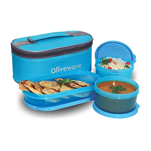 Oliveware Double Decker Lunch Box Tiffin - Blue   3 Containers with Spoon & Fork   for School & Office Use   with Fabric Bag   Leak Proof & Microwave Safe