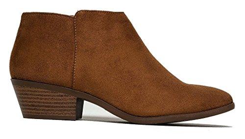 SODA Women's Round Toe Faux Suede Stacked Heel Western Ankle Bootie Cognac Faux Suede 7.5