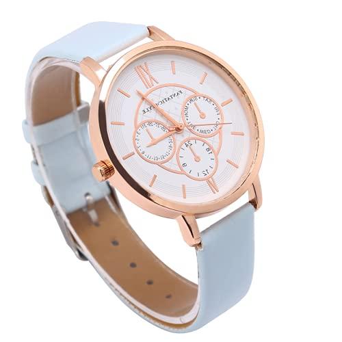 Bediffer Reloj de pulsera con movimiento de cuarzo, relojes analógicos de largo tiempo de servicio con buena transmisión de luz para que reconozcas el tiempo (marco de oro rosa azul cielo)