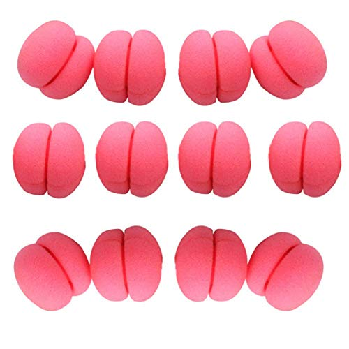 12Pcs Round Soft Foam Sponge Hair Curlers Rollers Magic No Heat Sleeping Curling Accessories Hair Styling Tool for Women Girls (Red)