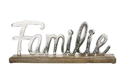 GILDE Schriftzug Aufsteller Familie Alu braun Silber Breite 43,50 cm