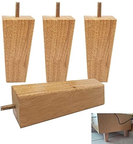 ZXLRH Patas de Madera para sofá de 4 Piezas, Patas cuadradas de Madera para Muebles, pies de Armario, Pernos M8, para sillón, Armario, cajonera, sofá, Mesa de Centro, Patas de Repuesto para Mueble