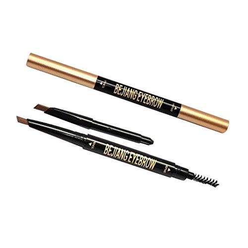 MagiDeal 2 en 1 Crayon à sourcils Automatique Double Tête Crayon Sourcils Brosse avec Recharge - Café Foncé