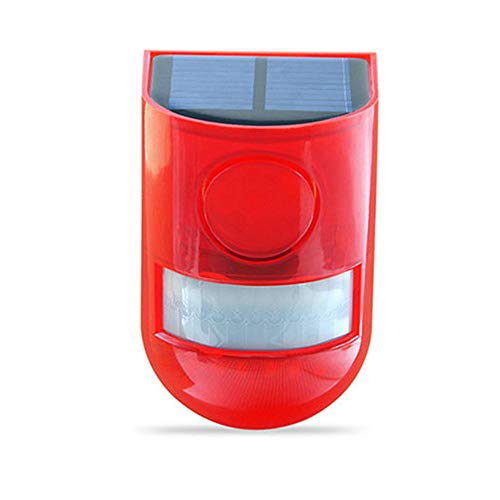 origin ソーラー充電式防犯アラーム 警告灯 赤色フラッシュ ソーラー充電式 110db大音量警報 ブザー 赤いライト点滅警報 防水仕様 農場動物被害に 野外 倉庫 車庫の防犯に SALM91