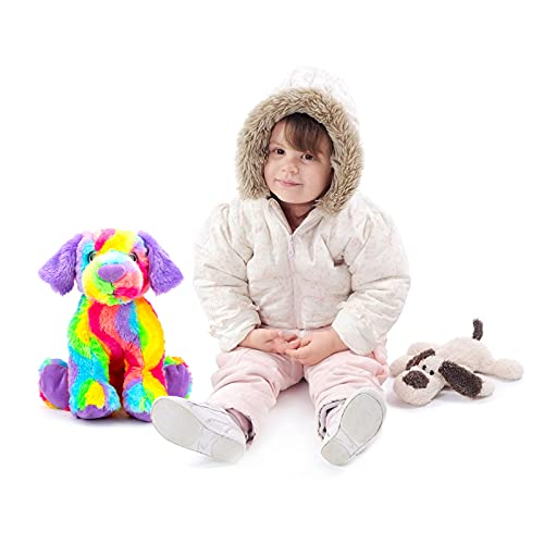 16inch Large Soft Cuddly Rainbow Dog Plush Toy, Standing Rainbow Plush Dog Toys Stuffed Animal Cute Doll Gift for Kids Ages 3-8 Years, Gift