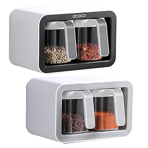 Cassetto montato a parete per condimenti, portaspezie, contenitore adesivo da parete con cucchiai, adatto per pareti della cucina